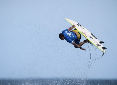 Damien Hobgood competes in round three of the Billabong Rio Pro tournament.