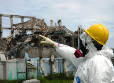 One of the IAEA's fact-finding team examining Reactor 3 at the Fukushima plant last week.