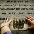 Collette Herra holds a picture of her father George Goddard who was an Auxiliary Fireman on the night of the North Strand bombing by the German Luftwaffe in May 1941 on the 70th anniversary today. (Photocall Ireland)