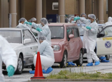 1 June 2011: Cars from areas within the exclusion zone around the Fukushima plane are screened for radiation.