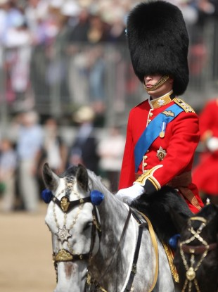 Prince William takes part in rehearsals for next week's 'Trooping the Colour' parade.