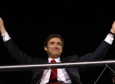 Portugal's next prime minister Pedro Passos Coelho celebrates last night.
