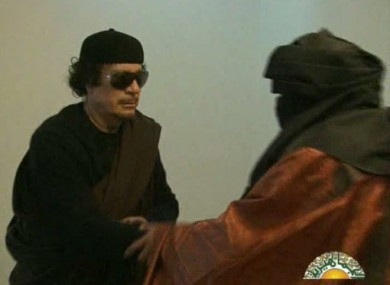 Image from yesterday's televised broadcast featuring Muammar Gaddafi.
