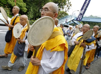 Buddhist monks participating in today's anti-nuclear rally in Tokyo.