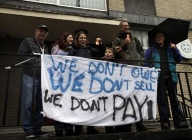Greek protesters outside the Greek embassy in London last week.