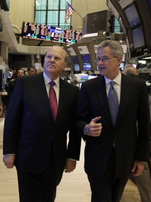 Wall Street: Michael Noonan is escorted around the trading floor of the New York Stock Exchange.
