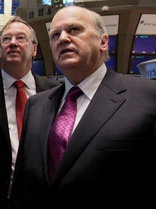 Noonan with the vice president of IDA Ireland, John Conlon on the New York Stock Exchange yesterday.