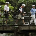 Walking across the bridge to the 10th tee.