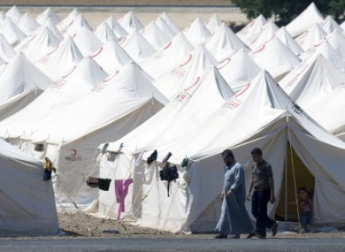 Syrian refugees at a newly-opened camp in the Hatay province of Turkey on Monday.