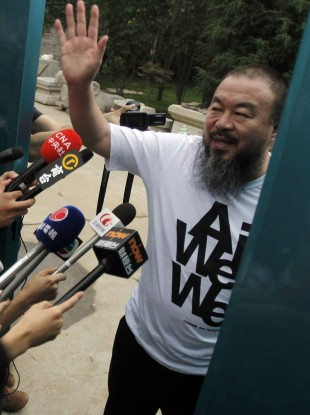 Ai Weiwei: Happy to say hello but unable to speak.