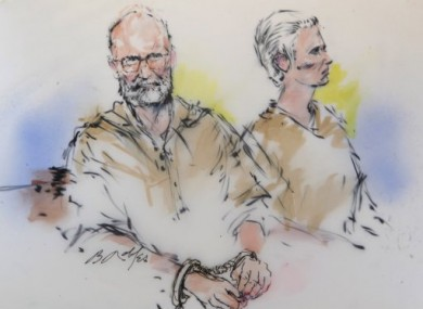 A courtroom sketch of James 'Whitey' Bulger, left, and his girlfriend, Catherine Grieg during their arraignment in a federal courtroom in downtown Los Angeles