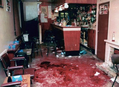 The bloodstained interior of The Heights Bar in Loughinisland, Co Down, after the killings