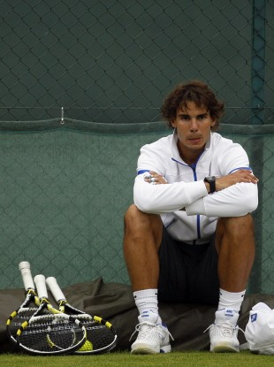 Spain's Rafael Nadal during a practice session yesterday.