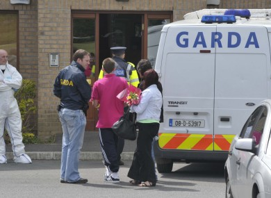 The scene outside the apartment complex in Santry this morning.