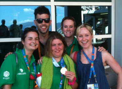 Aisling celebrates with supporters after her medal win yesterday