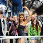 'Beyonce Knowles' joins the queue for the Glastonbury Festival at Paddington Station in London. Pic: Ian West/PA Wire