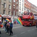 Education Minister Ruairi Quinn joins the Labour LGBT bus. Pic: Rónán Mistéil via Twitter