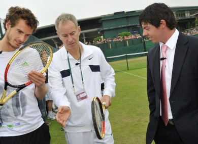 Out! Andy Murray, left, John McEnroe, and US Open champ Rory McIlroy.