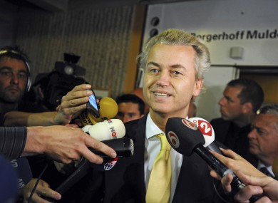 Geert Wilders gives a brief statement after A Dutch court acquitted him of hate speech and discrimination in Amsterdam