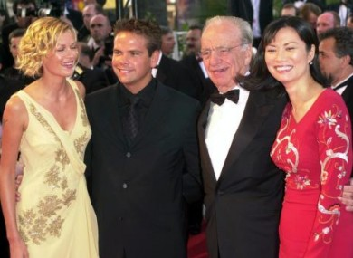 Media mogul Rupert Murdoch (2nd right) accompanied by his wife Wendi (right) and son Lachlan Murdoch arrive at the Palais Des Festivals, at the Cannes Film Festival, France.