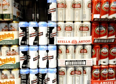 Cans of lager in a supermarket