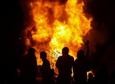 A bonfire on the Shore Road in Belfast last night