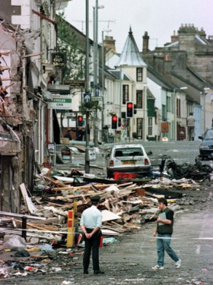 The scene of devastation in Omagh following the bombing in 1998.
