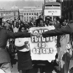 In 1964 he was imprisoned along with seven other members of the African National Congress for conspiring to sabotage the South African state. There were protests outside the court. (AP)