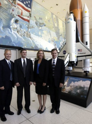 Space shuttle Atlantis, from left to right, pilot Doug Hurley, mission specialist Rex Walheim, mission specialst Sandra Magnus and commander Chris Ferguson