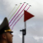Belarusian army jet fighters fly during a parade marking Independence Day in Minsk, Belarus, today. (AP Photo/Sergei Grits)