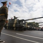 Belarusian army self-propelled cannons are seen during the Independence Day parade in Minsk. (AP Photo/Sergei Grits)