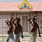 Hindu priests at the 16th-century Sree Padmanabhaswamy Temple complex in Trivandrum, India. (AP Photo/Aijaz Rahi)