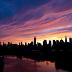 The New York City skyline at sunset on Independence Day, July 4 (AP Photo/Kathy Kmonicek)
