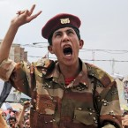 A defected soldier shouts slogans during a demonstration by anti-government protestors in Sanaa, Yemen (AP Photo/Hani Mohammed)