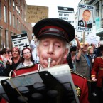 Campaigners against the cuts at Roscommon Hospital protest outside Leinster House, Dublin (Julien Behal/PA Wire)