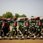 Military police participate in an independence rehearsal procession in Juba, southern Sudan, as the government makes preparations to celebrate its independence from the north (AP Photo/Pete Muller)