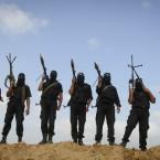 Palestinian militants from the militant Al Ansar Brigades training in the Gaza Strip (AP Photo/Ashraf Amra)