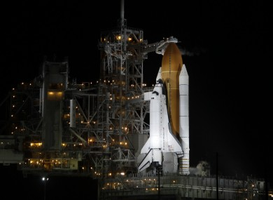 The shuttle Atlantis on its launch pad early this morning
