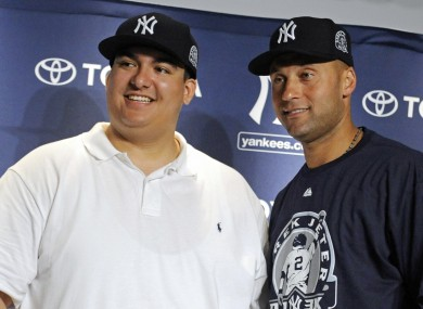 Jeter and Lopez happy before the taxman cometh.