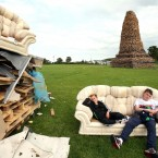 Youths before an Eleventh Night bonfire in New Mossley, on the outskirts of Belfast (Paul Faith/PA Wire)