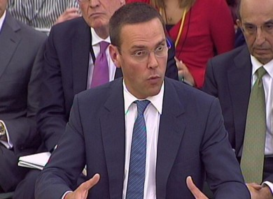 James Murdoch giving evidence on Tuesday.