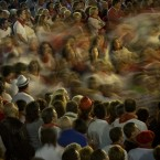 Revellers dance around a central point to honour Saint Ana, in Tudela, northern Spain. (AP Photo/Alvaro Barrientos)