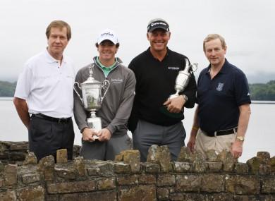 (l-r) George O'Grady, McIlroy, Clarke, and smart-casual Enda Kenny