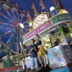 A couple have their photo taken at the Denver County Fair in Colorado. (AP Photo/Chris Schneider)