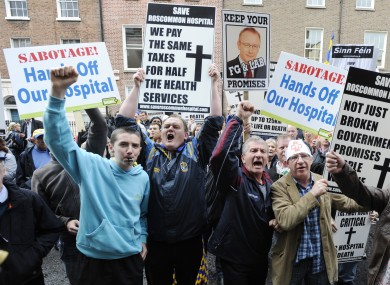 Roscommon residents protest against plans to downgrade Roscommon's A&E services last week. The A&E ward will close this morning, replaced with an urgent care unit that closes at 8pm nightly.
