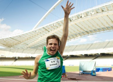 Relay event medal winner Timothy Morahan celebrating his team's Olympic success in Athens.