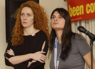 Rebekah Brooks (left) standing next to Sara Payne in October 2002.