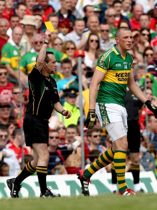 Kieran Donaghy was booked following his clash with Cork's Noel O'Leary.
