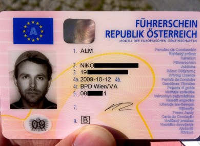 Niko Alm's driving licence, complete with pasta strainer.