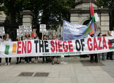 Protesters outside Leinster House on Wednesday